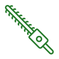 a hedge trimming icon in green