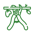 a tree pruning icon in green