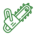 a tree removal saw icon in green